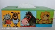 Tücherbox Katze, Hund, Esel, Bär
