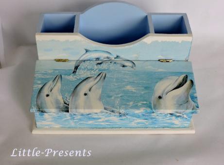Stiftebox, Schreibtischutensilo Delfine
