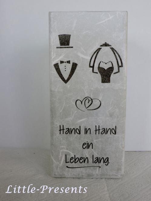 Tischlampe mit Spruch, Hochzeit