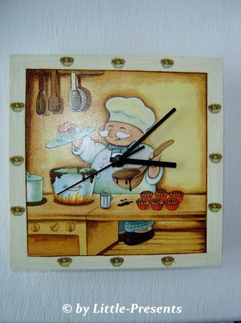 Wanduhr, Küchenuhr fröhlicher Koch