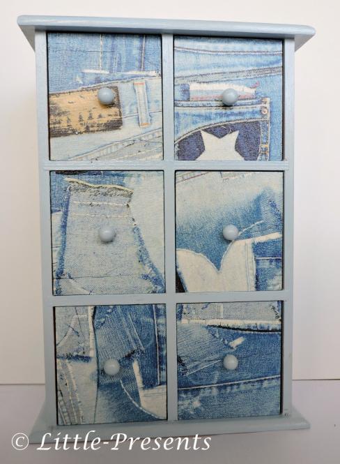 Schubladenschränkchen, Minikommode in Jeansoptik
