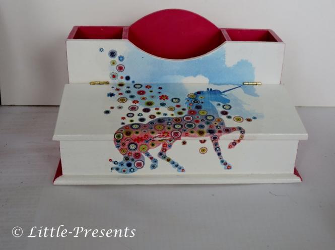Stiftebox, Schreibtischutensilo, Einhorn