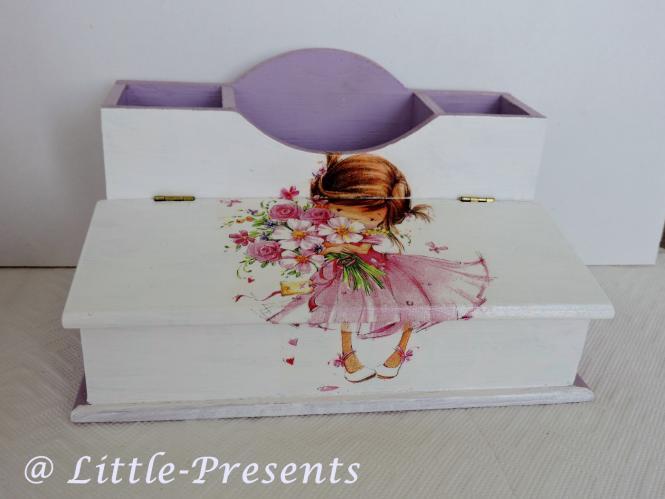 Stiftebox, Schreibtischutensilo Mädchen, lila