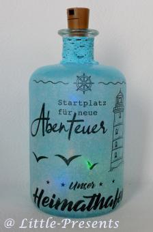 Flaschenlicht Abenteuer Heimathafen mit LED Lichterkette