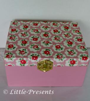 Schmuckbox mit Spiegel, kleine Rosen