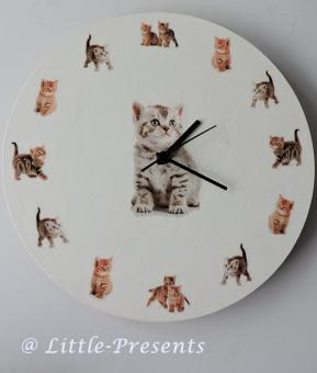Wanduhr rund, Katzen