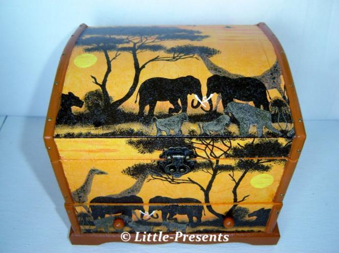 Schmuckschatulle, Schmuckbox Afrikastyle